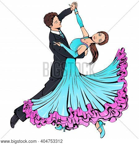 Vector Illustration Of Young Couple Dancing Classical Ballroom Dance Isolated On White Background. W