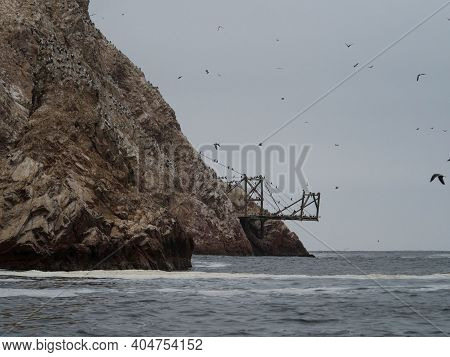 Old Historic Abandoned Bridge Ruins At Islas Ballestas Islands Pacific Ocean Rock Formation Peruvian