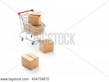 Online Shopping -Carton paper boxes and shopping cart on white background