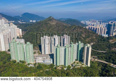 Lam Tin, hong Kong 21 December 2020: Top view of Hong Kong city