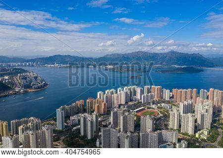 Ma On Shan, Hong Kong 18 November 2020: TOp view of Hong Kong city