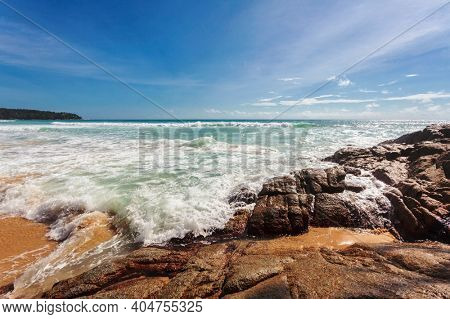 Beautiful tropical beach with  stones. Nature background
