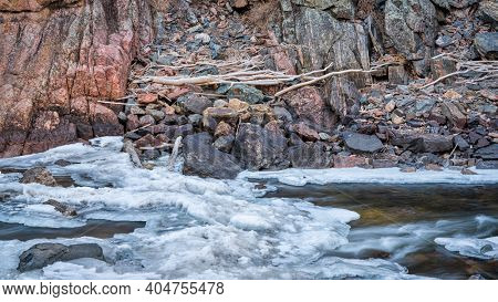 driftwood in icy canyon of mountain river - Poudre River at Little Narrow above Fort Collins, Colorado in winter scenery
