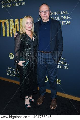 LOS ANGELES - JAN 05:  Actress Patricia Arquette and Writer Michael Tolkin arrives for Showtime Golden Globe Nominee Celebration Premiere on January 05, 2019 in West Hollywood, CA