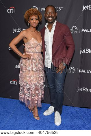 LOS ANGELES - MAR 24:  Ryan Michelle Bathe and Sterling K. Brown arrives for PaleyFest 2019 - This Is Us on March 24, 2019 in Hollywood, CA
