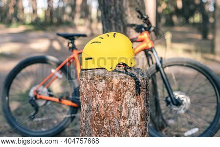 Yellow Bicycle helmet on stump and bike in pine forest