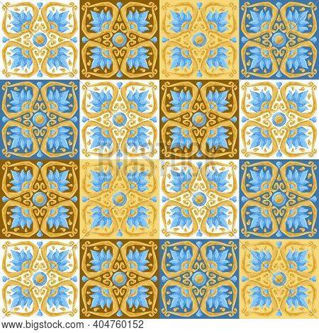 Ceramic Tile Pattern With Flowers. Stylized Image Of Water Lily In Pink And Gold.