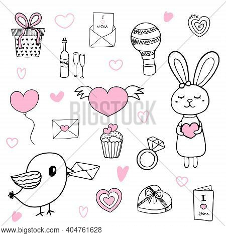 Cute Love Set With Doodle Elements With Pink Accents. Vector