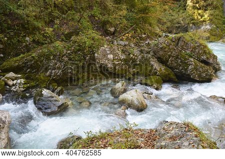 The Zadlascica River Near Its Confluence With Tolminka River In Tolmin Gorge, Triglav National Park,