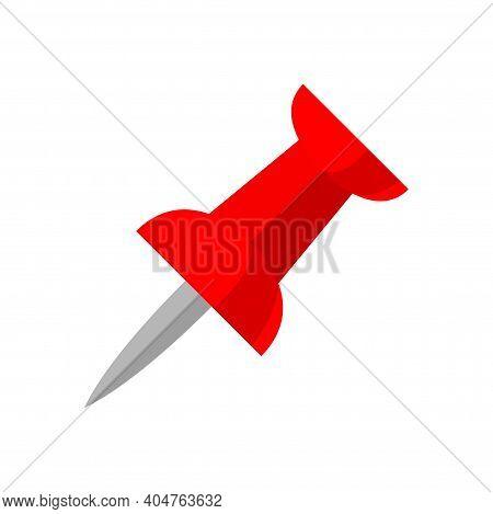 Red Push Pin Isolated On White, Thumbtack Pin, Illustration Pin Push