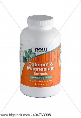 Kharkiv, Ukraine - December, 18, 2020: Bottle Of Calcium And Magnesium With Vitamin D Isolated On Wh