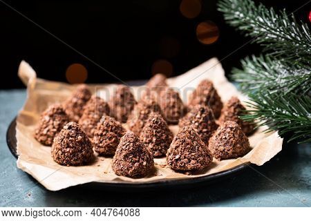 Truffle Chocolate Candies With Assorted Wafer Crumbs.