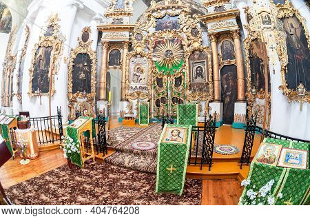 Tver Oblast, Russia - July 12, 2014: Interior Of The Church Of The Savior And St. George At The Mlev