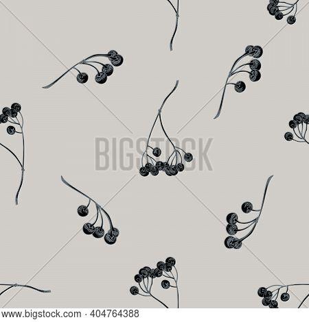 Seamless Pattern With Hand Drawn Stylized Ardisia Stock Illustration