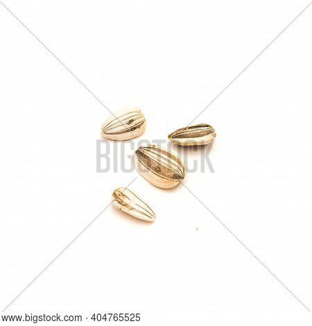 Top View Four Mammoth Sunflower Seeds Isolated On White Background