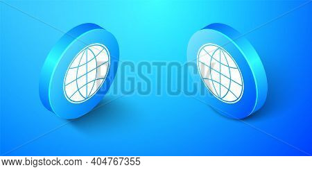Isometric Earth Globe Icon Isolated On Blue Background. World Or Earth Sign. Global Internet Symbol.