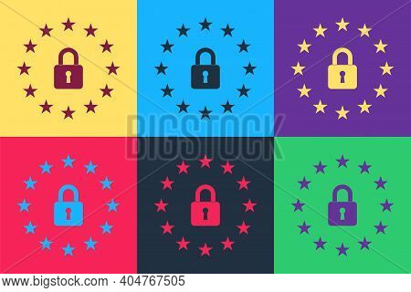 Pop Art Gdpr - General Data Protection Regulation Icon Isolated On Color Background. European Union