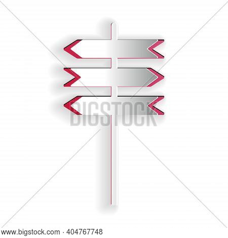 Paper Cut Road Traffic Sign. Signpost Icon Isolated On White Background. Pointer Symbol. Street Info
