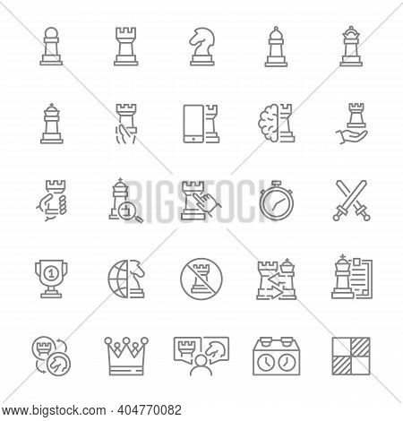 Set Of Chess Line Icon. Board Game, King, Queen, Bishop, Pawn, Rook, Knight And More.