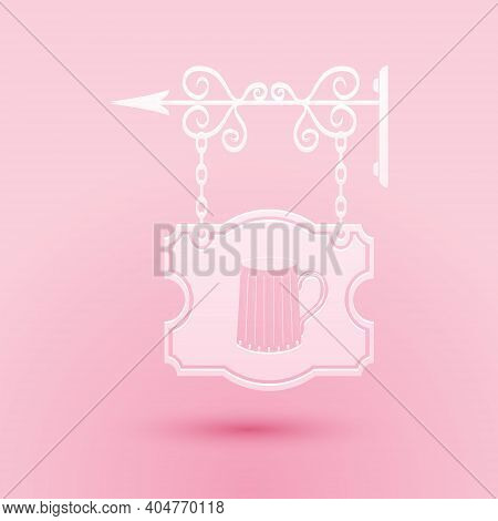 Paper Cut Street Signboard On Forged Brackets With Wooden Mug Of Beer Icon Isolated On Pink Backgrou