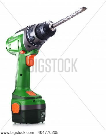 A Pistol-grip Cordless Drill Isolated On White Background