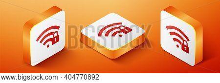 Isometric Wifi Locked Icon Isolated On Orange Background. Password Wi-fi Symbol. Wireless Network Ic