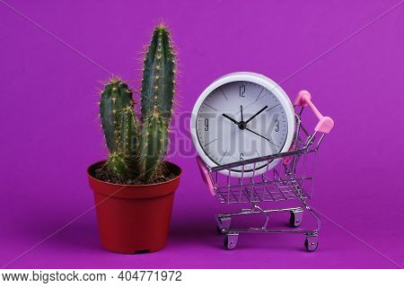Shopping Time. Supermarket Trolley With Clock And Cactus On Purple Background