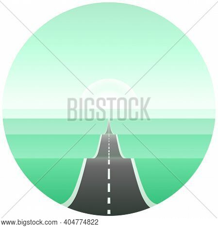Long Road Among Hills In Perspective View. Concept Of Travel. Beautiful Nature Landscape With Highwa