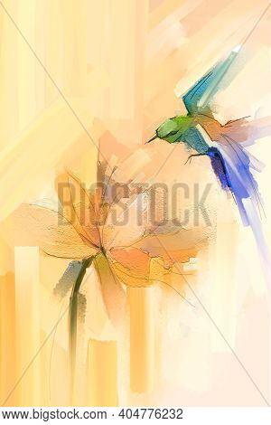 Abstract Art, Hand Painted Colorful Oil, Acrylic Painting Of Bird Flying Over Lotus Flower. Illustra