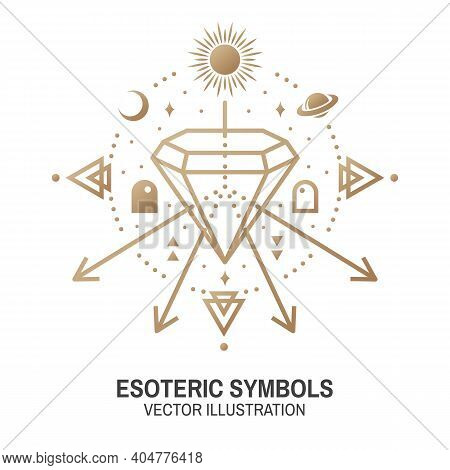 Esoteric Symbols. Vector Illustration. Thin Line Geometric Badge. Outline Icon For Alchemy Or Sacred