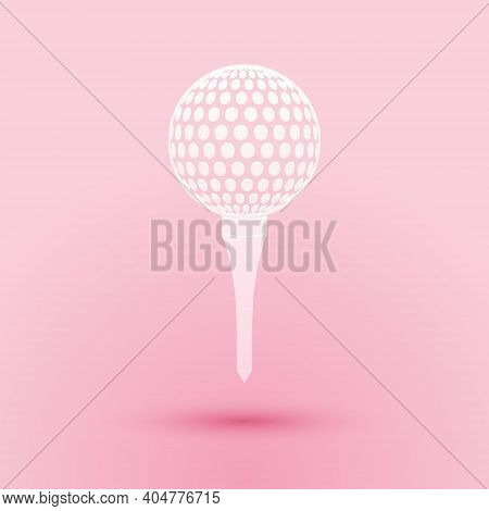 Paper Cut Golf Ball On Tee Icon Isolated On Pink Background. Paper Art Style. Vector