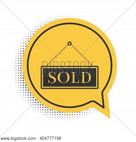 Black Sold Icon Isolated On White Background. Sold Sticker. Sold Signboard. Yellow Speech Bubble Sym