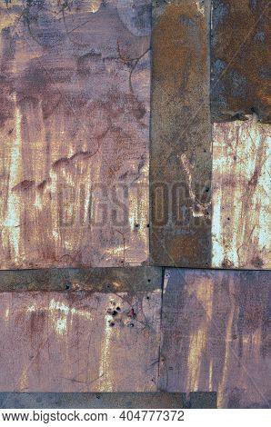 Old Aged Weathered Rusty Corroded Coat Iron Sheets Texture Pattern, Multiple Vertical Rusted Corrodi