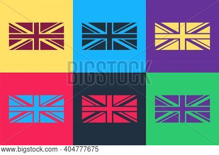 Pop Art Flag Of Great Britain Icon Isolated On Color Background. Uk Flag Sign. Official United Kingd