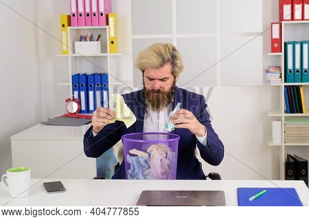 Bearded Businessman With Trash Can. Wastebasket. Ideas. Business. Office. Man In Office.