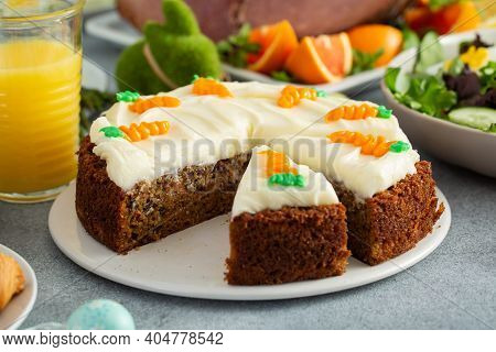 Traditional Carrot Cake With Cream Cheese Frosting For Easter Brunch Or Dinner