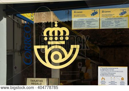Campos, Spain; January 23 2021: Entrance To The Spanish Postal Service Office (correos) In The Major