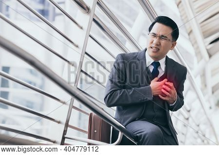 Man In Suit Having Heart Attack Or Heart Failure Businessman Get Heart Attack During Walking In The