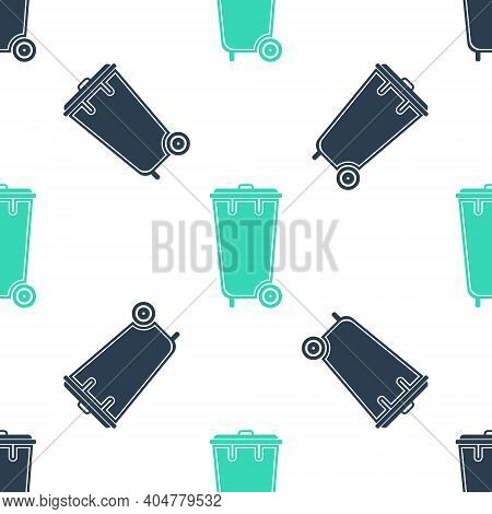 Green Trash Can Icon Isolated Seamless Pattern On White Background. Garbage Bin Sign. Recycle Basket