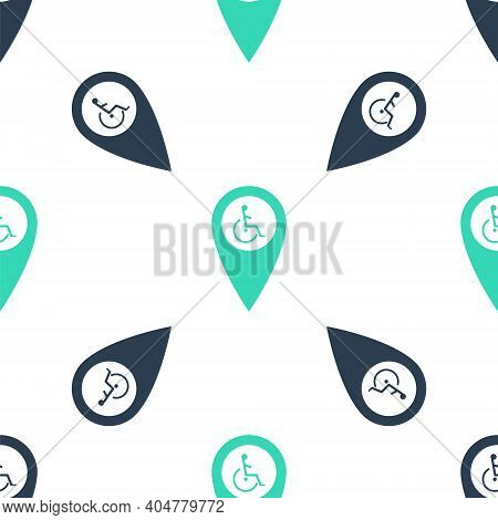 Green Disabled Handicap In Map Pointer Icon Isolated Seamless Pattern On White Background. Invalid S