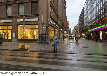 Helsinki, Finland - January 15, 2020: View Of A Street In Central Helsinki On A Winter Cloudy Day.
