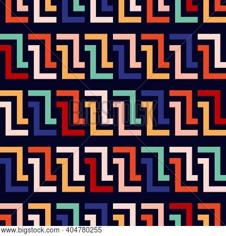 Vector Geometric Seamless Pattern With Lines, Meanders, Chain, Grid, Net. Stylish Modern Colorful Ba