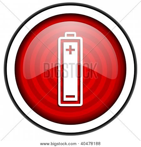 battery red glossy icon isolated on white background