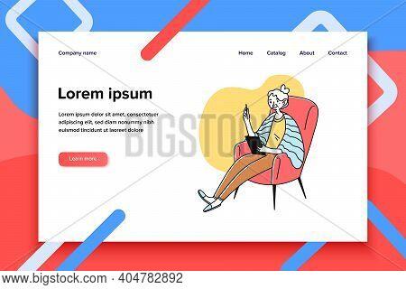Grandma Using Tablet. Senior Lady Reading Book On Gadget Screen Flat Vector Illustration. Digital Te
