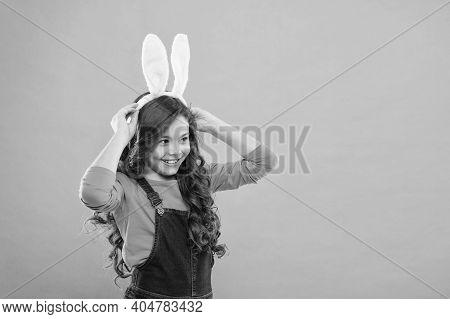 Bunny Kisses, Easter Wishes. Happy Bunny Rabbit. Small Child Wear Bunny Ears. Beauty Look Of Cute Bu