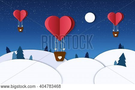 Romantic Illustration In Winter Paper Cut. Heart Air Balloons Fly In The Night Sky. Valentine Day De