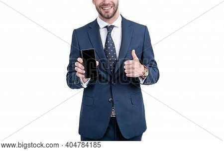Happy Businessman Half Face Give Thumbs Up To Approved Mobile Phone Model Isolated On White, Approva