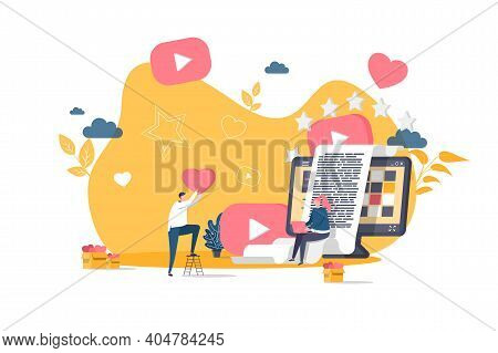 Blogging Concept In Flat Style. Bloggers Creating Quality Content For Social Media Scene. Network Co
