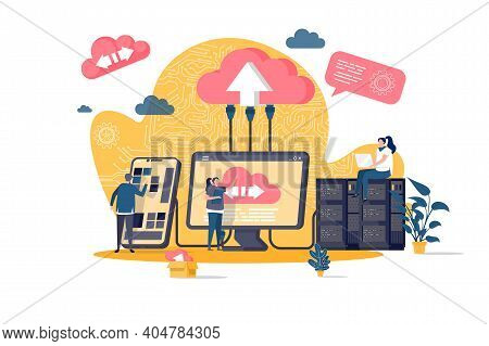Cloud Computing Concept In Flat Style. It Specialists Administrate Cloud Storage Scene. Hosting Plat