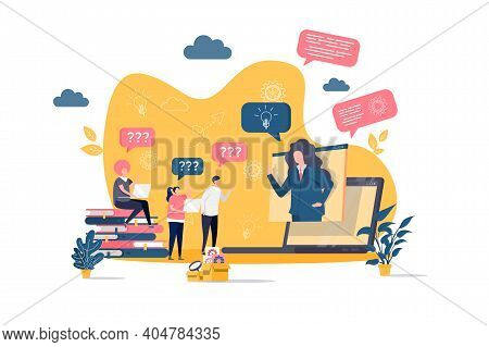 Consulting Concept In Flat Style. Consultant Answers Questions Scene. Online Business Assistance, Co